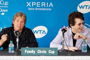 Rosie Casals, left, and Billie Jean King talk about the Original 9 Saturday at the Family Circle Cup.