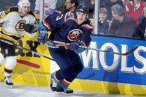 The New York Islanders selected Chara in the third round of the 1996 NHL Entry Draft and he made his NHL debut during the 1997-98 season. Here he plays against the Bruins in April 1998. (Boston won, 4-1.)