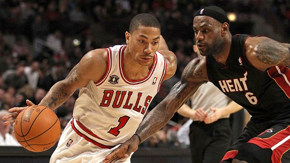 Derrick Rose and LeBron James