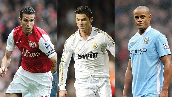 Robin van Persie, Cristiano Ronaldo, and Vincent Kompany