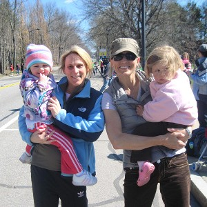 Kristine Lilly, and her daughter Sidney, and Jodi, and her daughter Sienna, at the 2011 Boston Marathon.
