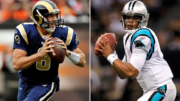 St. Louis' Sam Bradford, left, and Carolina's Cam Newton have helped change the thinking that a Heisman Trophy-winning quarterback won't be successful in the NFL.
