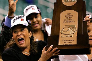 In four-plus decades as a coach, Stringer has led three different schools to the Final Four, including Rutgers twice. Here she celebrates a regional final win in 2007.