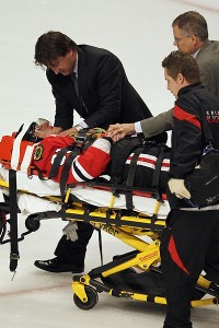 Marian Hossa had to be removed from the ice on stretcher after Raffi Torres' hit on him during last Tuesday's game in Chicago.