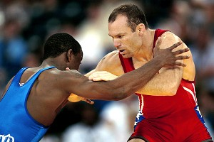 Bracken wrestles Harry Lester during the 2004 U.S. Olympic team trials in Indianapolis.