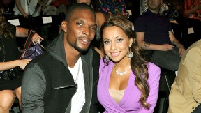 Chris Bosh's wife, Adrienne, gave birth to a healthy boy at about 3 a.m. ET on Thursday.