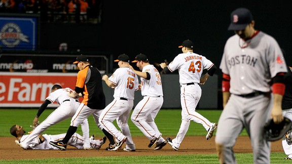 Baltimore Orioles celebrate beating the Red Sox in 2011