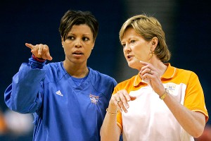 Seeing the way Pat Summitt balanced coaching and raising son Tyler has helped Nikki Caldwell multitask now that she's a mother, too.