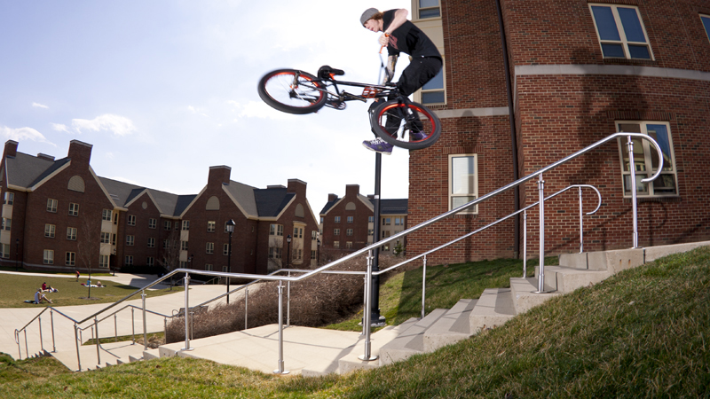 Tailwhip over the rail into the grass bank in State College, Pa.