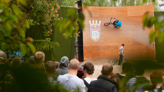 TJ Ellis, curved wallride through the 2012 Red Bull Empire of Dirt course.