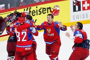 Russia team players celebrate