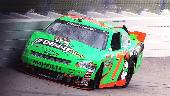 Danica Patrick was having one of her best runs on a short track when her right front tire gave out.