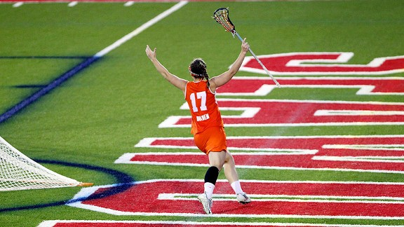 Syracuse Orange midfielder Sarah Holden celebrates after scoring the game-winning goal.