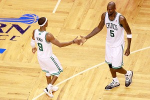 Rajon Rondo and Kevin Garnett 