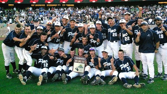 Pacific HS baseball team celebrating