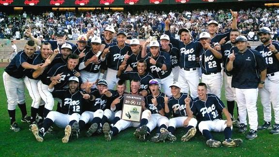 Pacific HS baseball team celebrating
