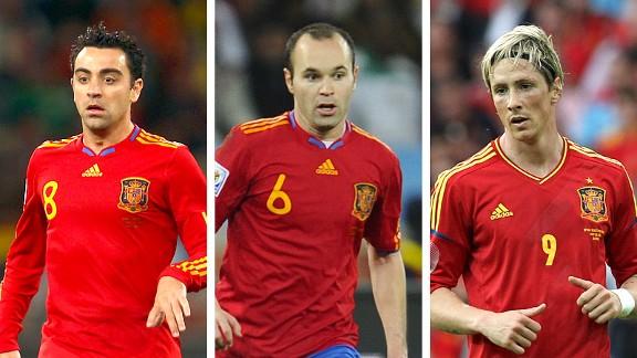 Xavi, Andres Iniesta and Fernando Torres
