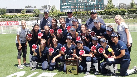 Chino Hills HS softball team winning CIF-SS title.