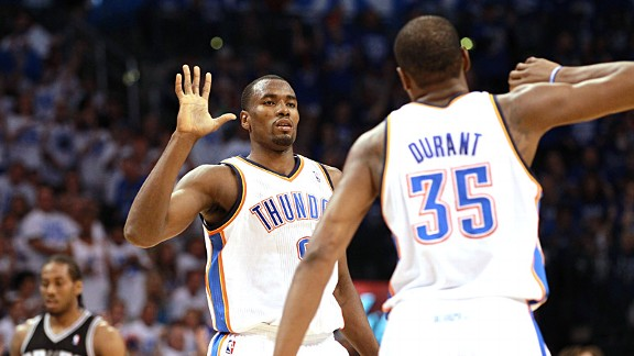 Serge Ibaka and Kevin Durant