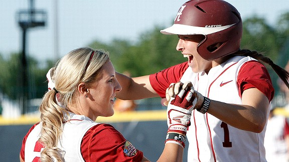 Kayla Braud, right, celebrating a homer with teammate Jazlyn Lunceford, and the Crimson Tide have beaten Tennessee and Arizona State to open the WCWS.