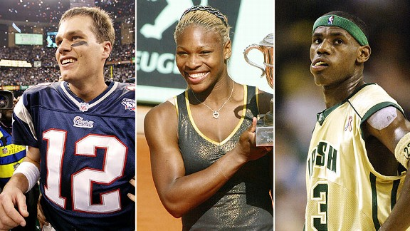 Tom Brady, Serena Williams, and LeBron James