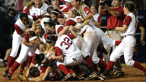 Alabama softball celebration