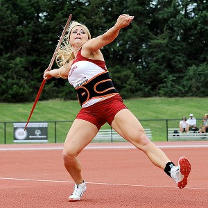 Brittany Borman of  Oklahoma won her second straight javelin national title.