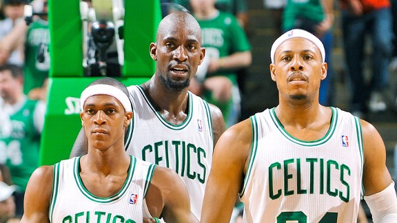 Rajon Rondo, Kevin Garnett and Paul Pierce