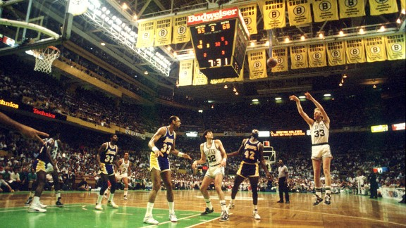 Los Angeles Lakers and Boston Celtics at the Boston Garden