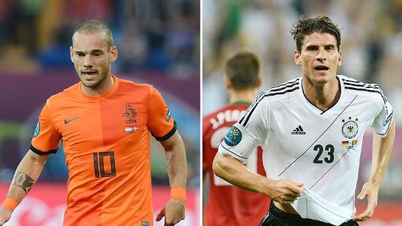 Wesley Sneijder and Mario Gomez