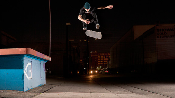 While in Los Angeles, Nick Merlino varial heelflips over a sidewalk gap.  a href=http://espn.go.com/action/xgames/realstreet/2012/indexReal Street »/a