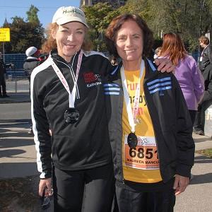 Maureen Wilton Mancuso, right, poses with fellow marathon pioneer Kathrine Switzer at the GoodLife half marathon in 2010.