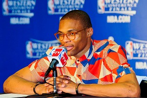 Russell Westbrook will play a couple of roles in the NBA Finals. Look for his eye-popping ensembles in the postgame.