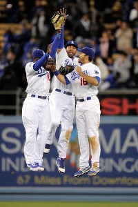 Tony Gwynn Jr., Matt Kemp and Andre Ethier
