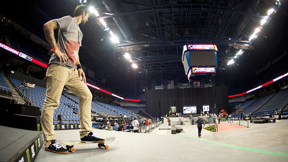 Chris Cole eyes the Ontario, Calif. Street League course during practice on Thursday.