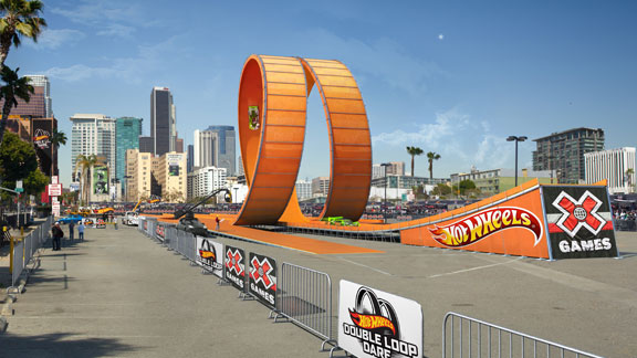 The Hot Wheels loop, shown here in a digital rendering, is as tall as a six-story building.