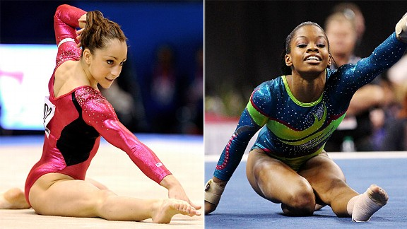 Although Gabrielle Douglas, right, had a fall on beam at the U.S. championships, she came close to defeating Jordyn Wieber in the all-around.