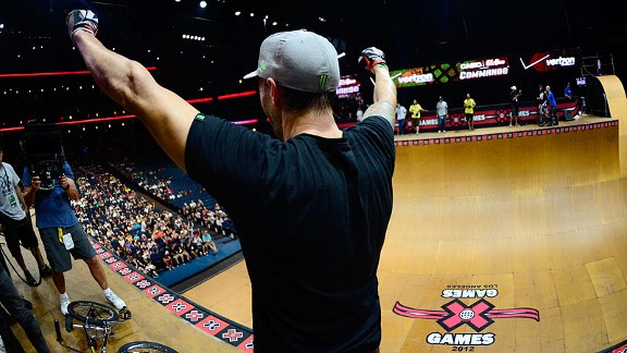 Jamie Bestwick celebrates his six-peat victory in BMX Vert at X Games Los Angeles.