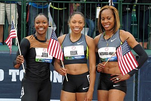 Allyson Felix, center, won Saturday's 200-meter final, while Carmelita Jeter, left, and Sanya Richards-Ross round out the U.S. team in the event.