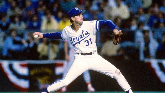 Bret Saberhagen pitches against the St. Louis Cardinals during the 1985 World Series.