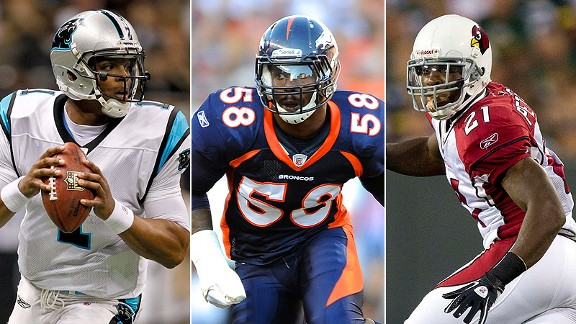 Cam Newton, Von Miller and Patrick Peterson