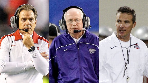 Nick Saban, Bill Snyder and Urban Meyer