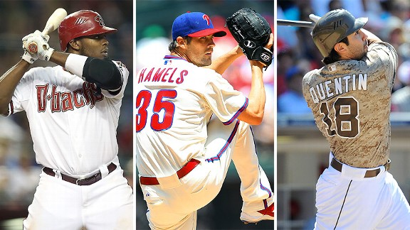 Justin Upton, Cole Hamels and Carlos Quentin,