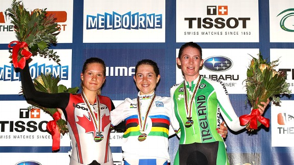 Jasmin Glaesser, left, celebrated a silver medal in the women's points race at April's world championships in Melbourne, Australia.