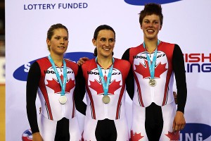 Just 19, Jasmin Glaesser, left, has already earned two world championship medals, including the team pursuit bronze she celebrates with teammates Tara Whitten, middle, and Gillian Carleton.