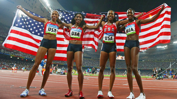 Allyson Felix, Monique Henderson, Sanya Richards, Mary Wineberg