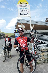Jim Caple after riding Alpe d'Huez