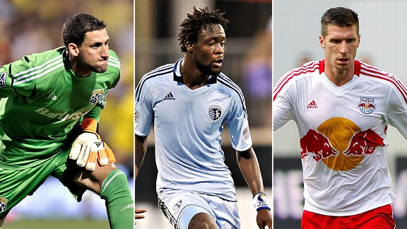 Andy Gruenebaum, Columbus Crew; Kei Kamara, Sporting Kansas City; Kenny Cooper, New York Red Bulls