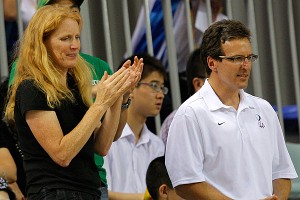 Connie Carpenter-Phinney and her husband, Olympic cycling medalist Davis Phinney, watch their son, Taylor, compete at the 2008 Beijing Olympics. Taylor will also represent the U.S. at this year's Games in London.