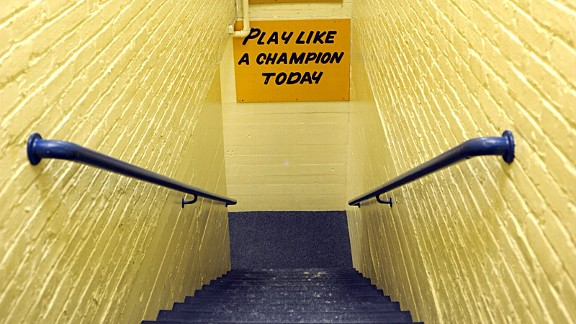 This simple, inspirational sign has helped Notre Dame win a lot of football games and helped its painter even more.